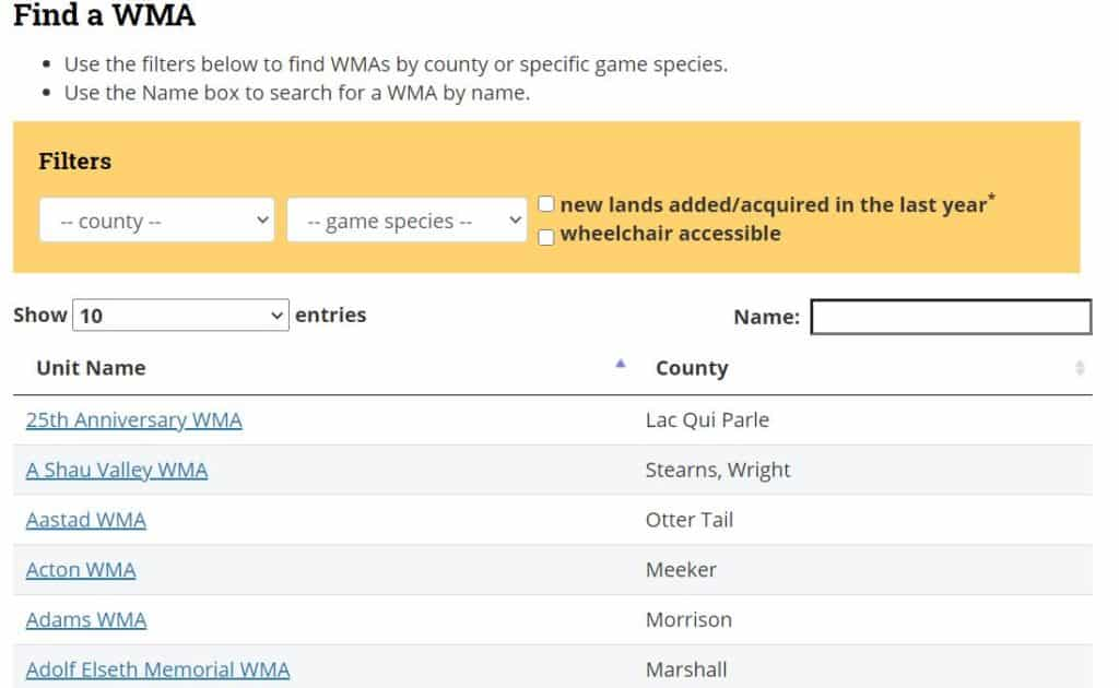Find WMA Tool on Minnesota DNR Site